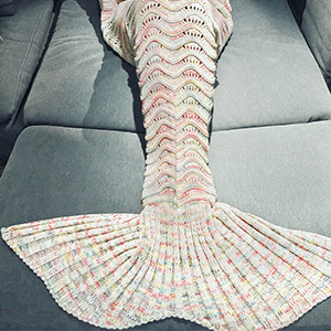 Fashionable Multicolor Knitted Mermaid Tail Design Blanket For Adult $17.21